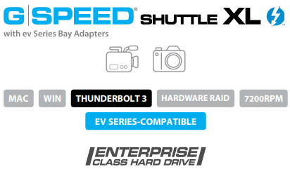G-SPEED Shuttle XL Thunderbolt 3 with ev Series Bay Adapters Description